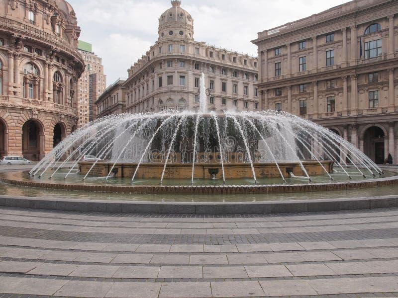Piazza de Ferrari in Genoa. Fountain in Piazza De Ferrari main square in Genoa Italy stock images