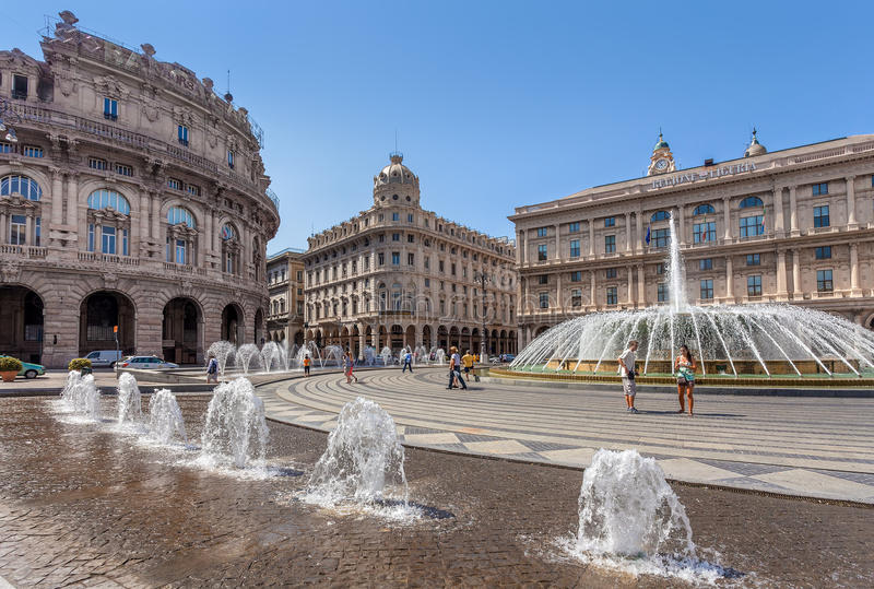 Piazza de Ferrari in Genoa, Italy. GENOA, ITALY - JUNE 30, 2012: Piazza de Ferrari - city main square, situated between historical and modern center, famous for stock image