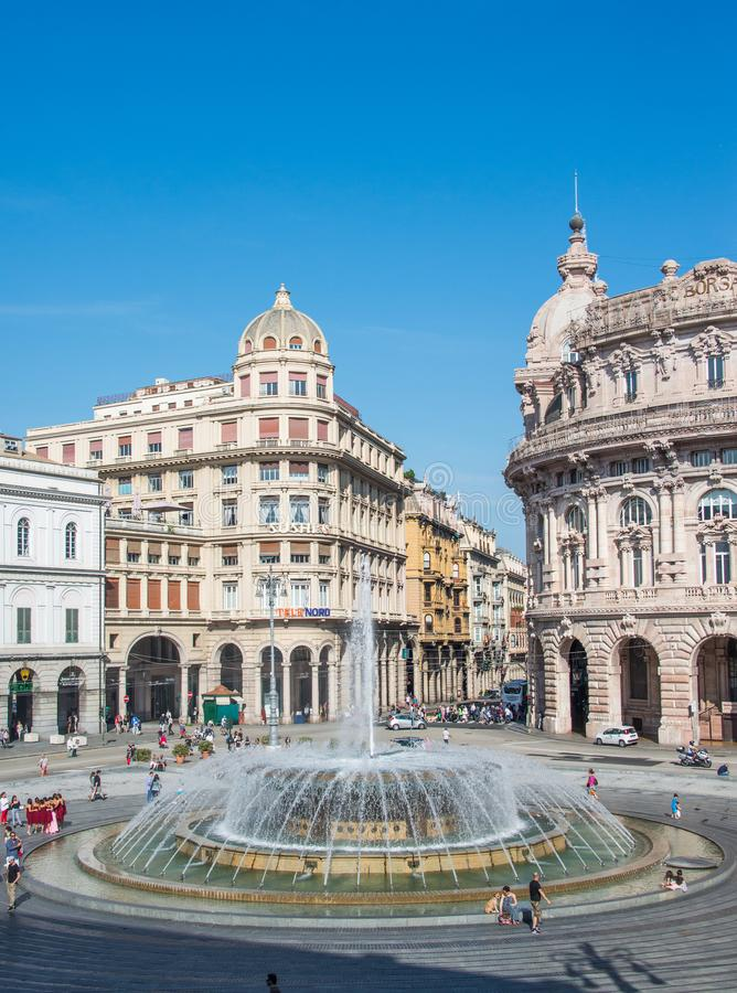 Piazza de Ferrari in Genoa and the fountain in the center. Piazza de Ferrari in Genoa, Italy the very center of the city. The Academy of fine arts and banks in stock image
