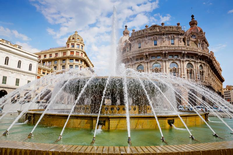 Piazza De Ferrari is the main square of Genoa, renowned for its fountain and where many institutions were established. Stock exchange, Credito Italiano. Genova stock photography