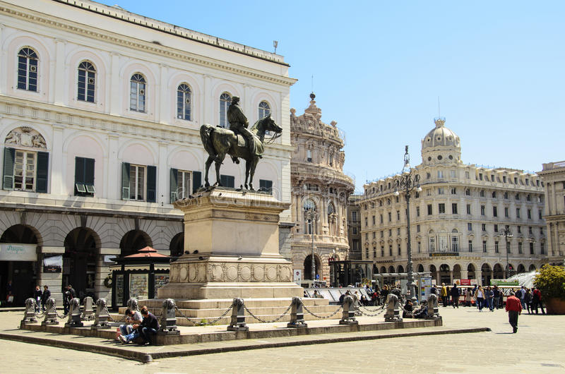 Piazza de ferrari. Is the main square of Genoa. Situated in the heart of the city between the historical and the modern center,  is renowned for its fountain stock photo
