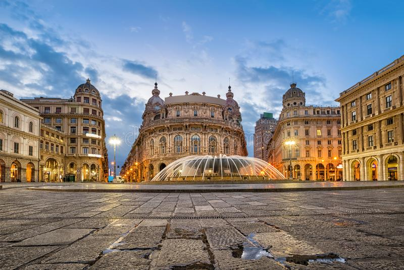 Piazza De Ferrari square in Genoa. Italy royalty free stock photography