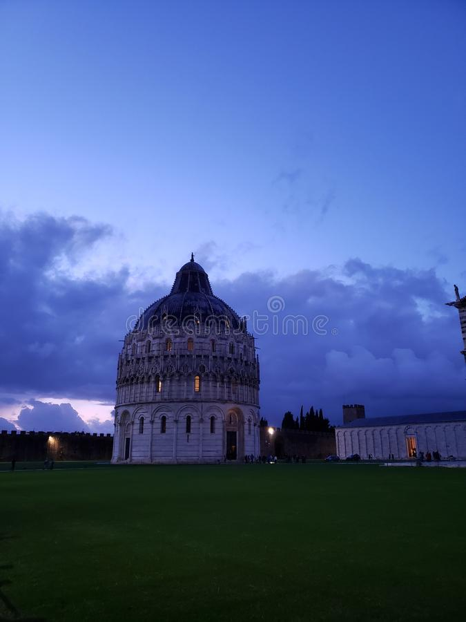 Pisa, Italy. Piazza dei miracoli, with the Basilica and the leaning tower. Pisa, Italy stock photo