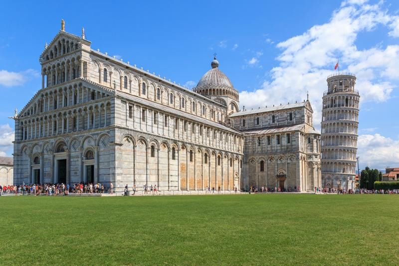 Piazza dei Miracoli with the leaning tower of Pisa and the Cathedral Santa Maria Assunta, Tuscany, Italy royalty free stock images