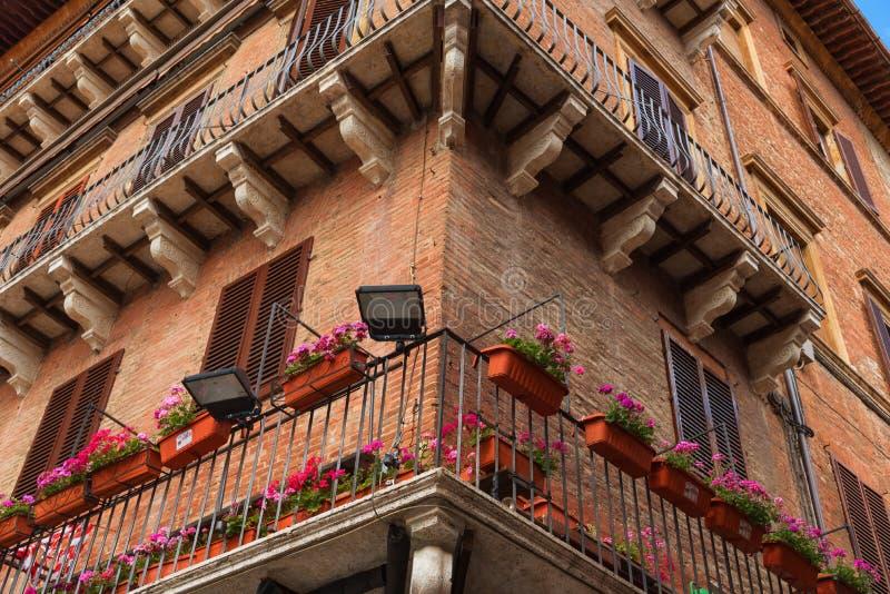Piazza del园地细节  锡耶纳的历史的中心由联合国科教文组织宣称世界遗产名录站点 免版税图库摄影