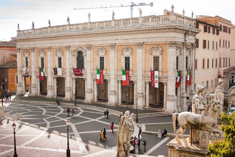 Piazza del Campidoglio y museos de Capitoline, Roma imagen de archivo