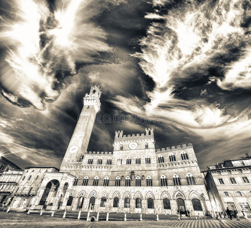 Piazza del Campo på solnedgången med Palazzo Pubblico, Siena, Italien fotografering för bildbyråer