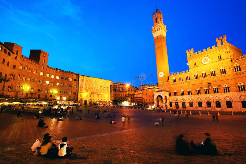 Piazza del Campo with Palazzo Pubblico, Siena royalty free stock photography