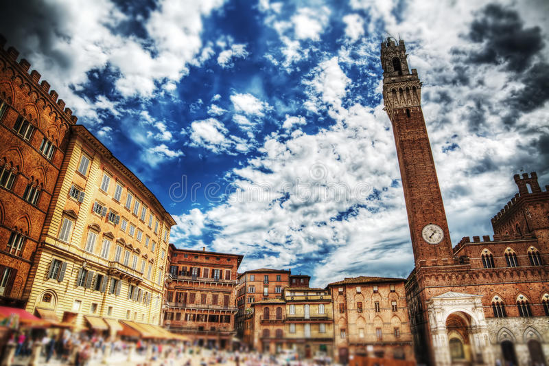 Piazza del Campo in Siena under a dramatic sky in hdr stock photo
