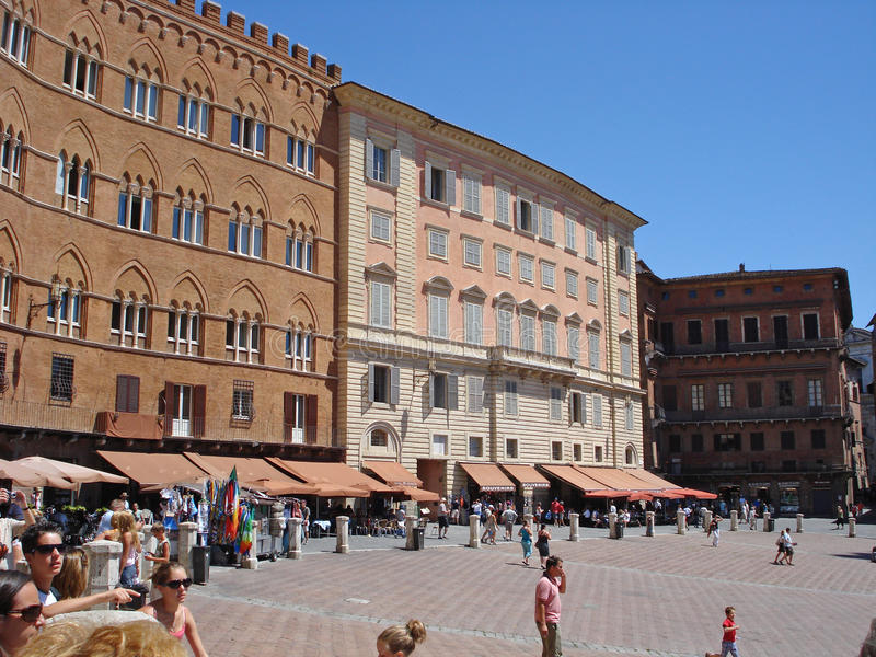 The Piazza del Campo, Sienna's premier square in Italy stock images