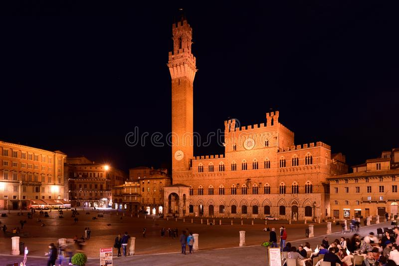 Piazza del Campo & Torre del Mangia, Siena, Tuscany, Italy stock images
