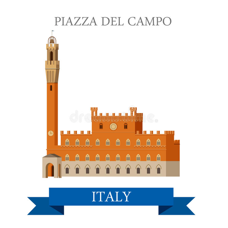 Piazza del Campo Venice Venezia Italy flat vector sight landmark. Piazza del Campo in Venice Venezia Italy. Flat cartoon style historic sight showplace stock illustration
