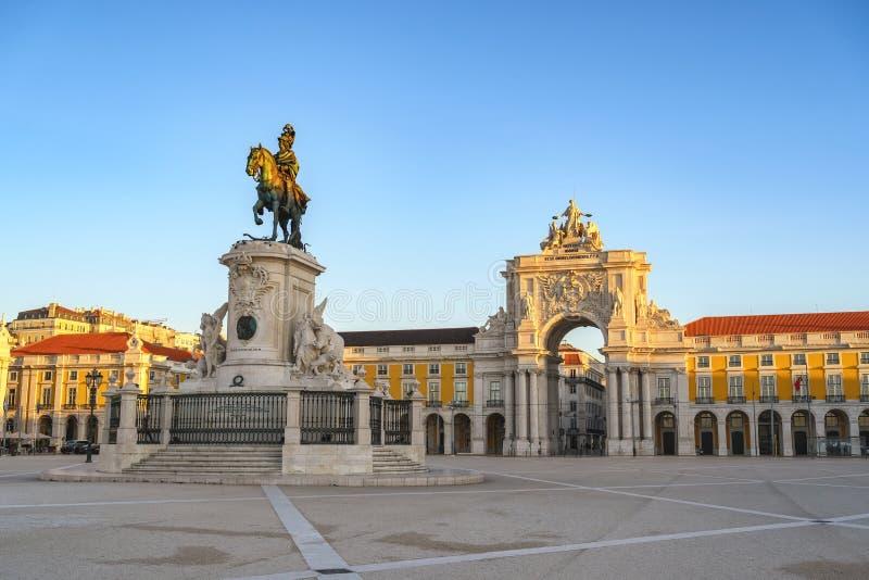 Piazza del Commercio di Lisbona immagini stock libere da diritti