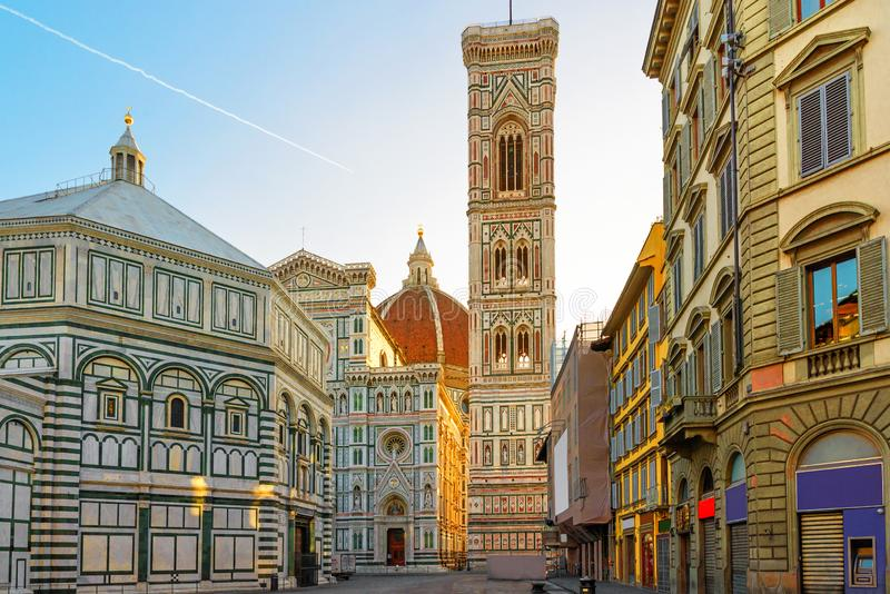 Piazza del Duomo and cathedral of Santa Maria del Fiore in Florence, Italy stock image