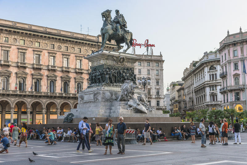 Piazza del Duomo , Central Square in Milano stock images