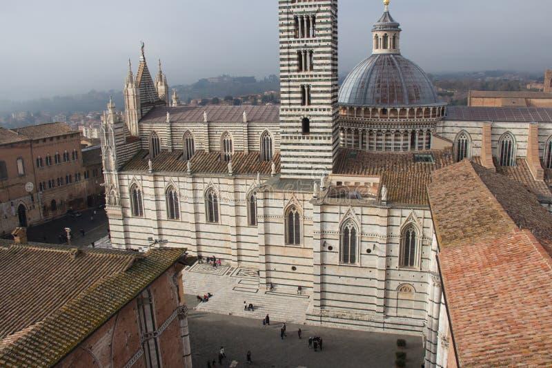 Piazza del Duomo di Siena. View from facciatone Tuscany. Italy. stock photo