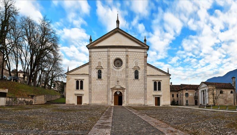 Piazza del Duomo in Feltre, Belluno stock photos
