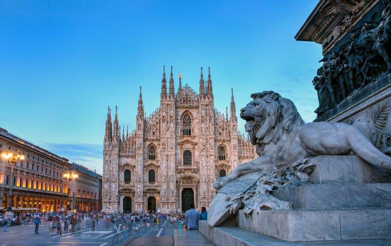 Piazza del Duomo, Milan arkivbild