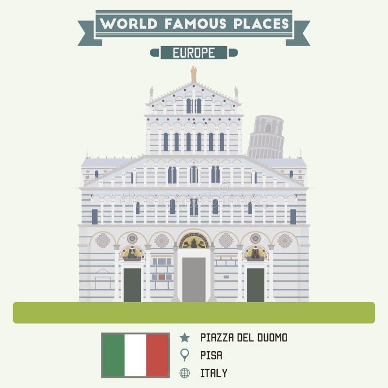 Piazza del Duomo, Pisa stock illustratie