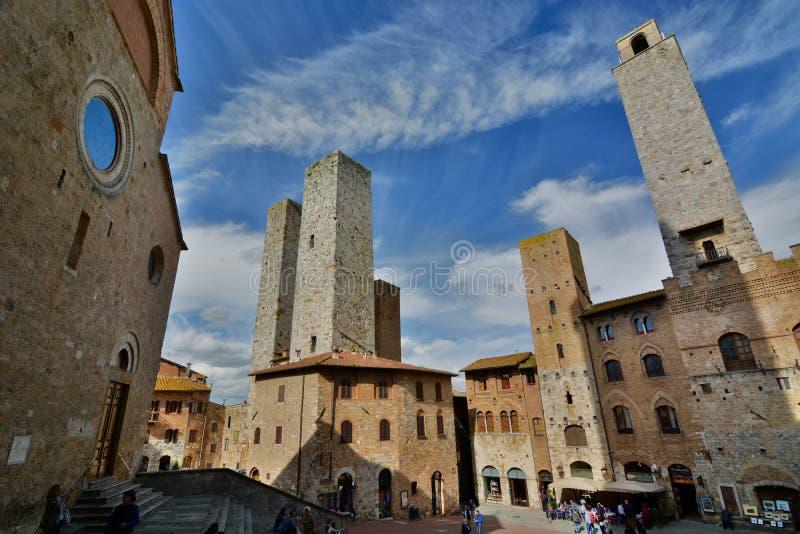 piazza del Duomo San Gimignano tuscany Włochy zdjęcie stock