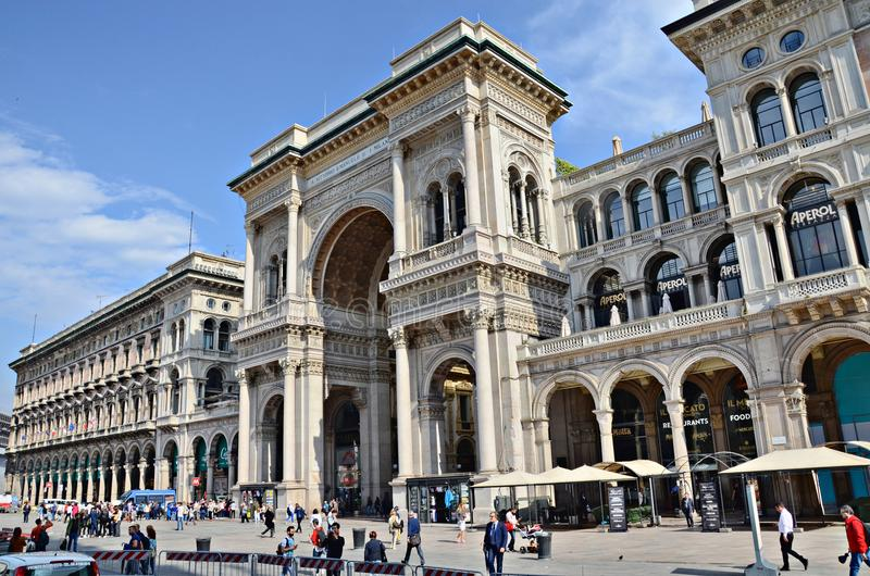 Piazza del Duomo and Vittorio Emanuele II Gallery royalty free stock photography