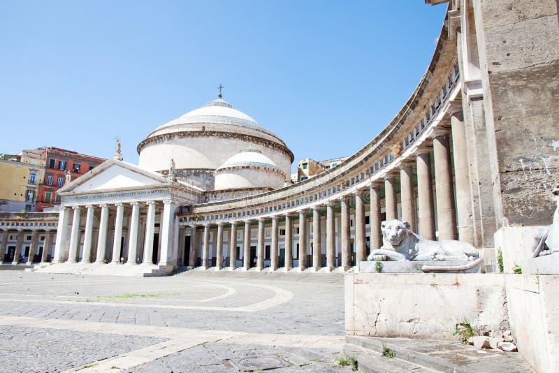 Piazza del Plebiscito, Νάπολη, Ιταλία στοκ εικόνες με δικαίωμα ελεύθερης χρήσης