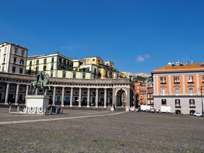 Piazza Del Plebiscito. In Naples, Italy. A calm day in the scenic square stock photos