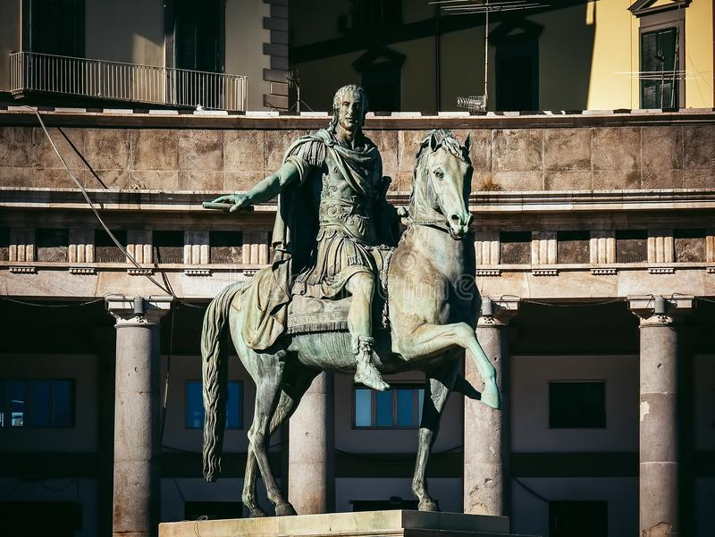 Statue of Charles III of Spain, Naples, Italy. Piazza del Plebiscito monument to Charles III of Spain Naples, Italy stock photo