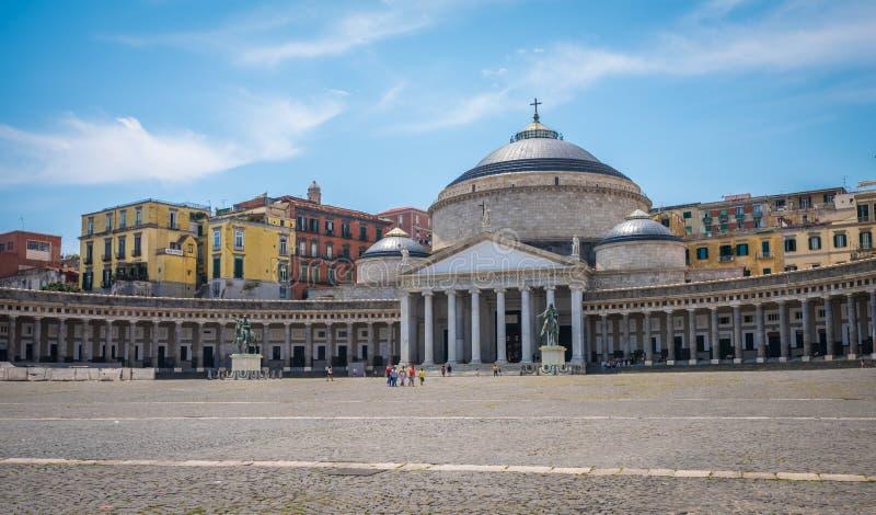 Piazza del Plebiscito, Nápoles, capital del Campania, Italia fotos de archivo libres de regalías