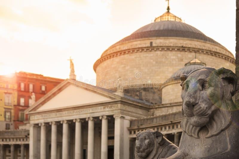 Piazza del Plebiscito in Napels, Italië royalty-vrije stock foto