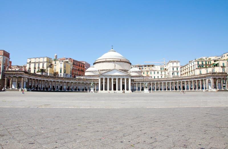 Piazza del Plebiscito, Napels, Italië stock afbeelding