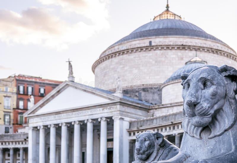 Piazza del Plebiscito a Napoli, Italia fotografia stock libera da diritti