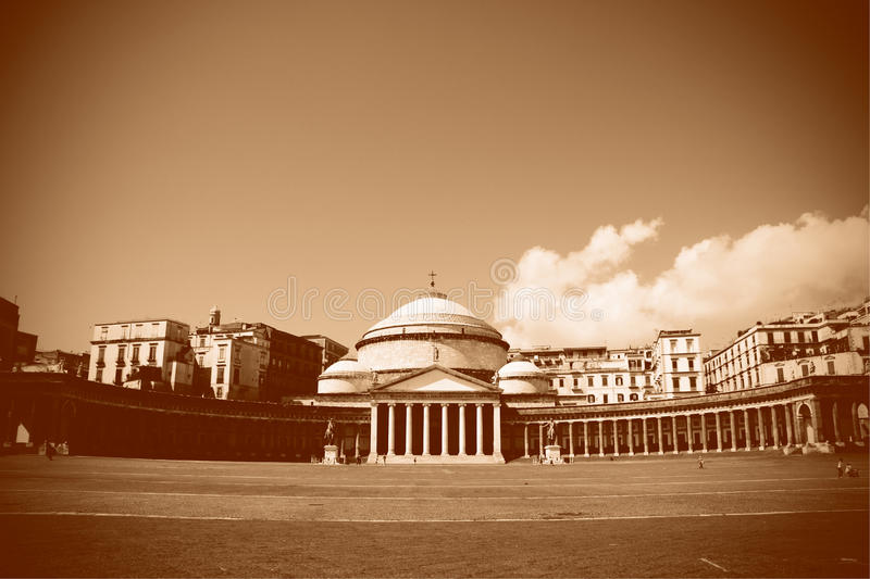 Piazza del Plebiscito, Napoli (Naples). The Piazza del Plebiscito in Naples as it is today processed into an old, sepia look, showing the church of San Francesco royalty free stock photos