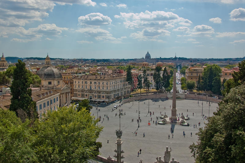 Piazza del Popolo. Panoramic view of Piazza del Popolo, rome royalty free stock photography