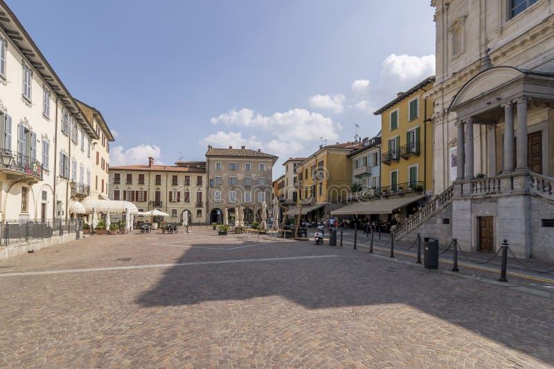 The Piazza del Popolo of Arona, Novara, Italy, on a beautiful sunny day. The Piazza del Popolo of Arona, Novara, Italy, Europe,  on a beautiful sunny day stock image