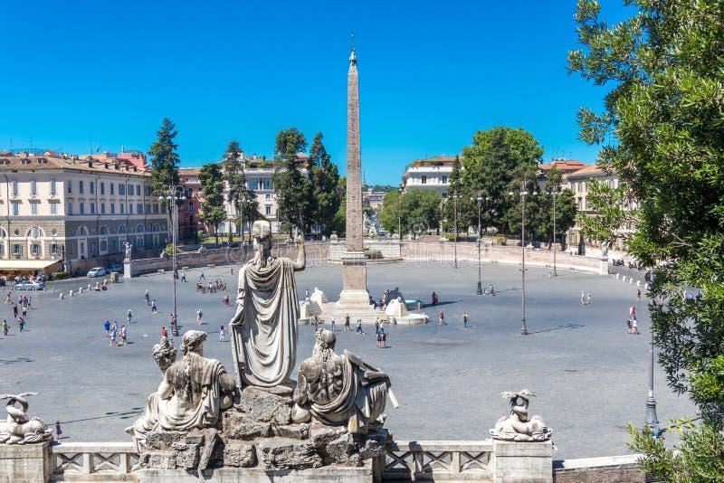 Piazza del Popolo en Flaminio Obelisk stock fotografie