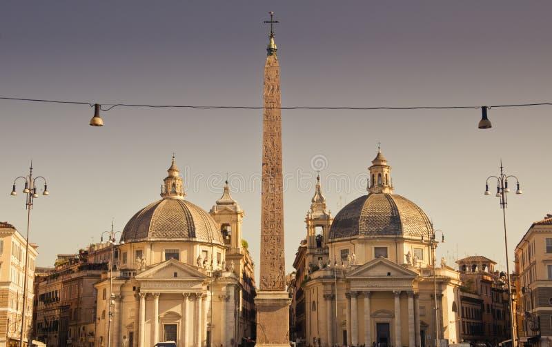 Piazza del Popolo i Rome, Italien royaltyfria bilder