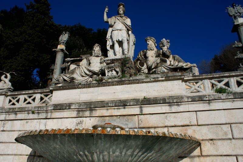 Piazza del Popolo People`s Square named after the church of Sa. Nta Maria del Popolo in Rome, Italy stock photo