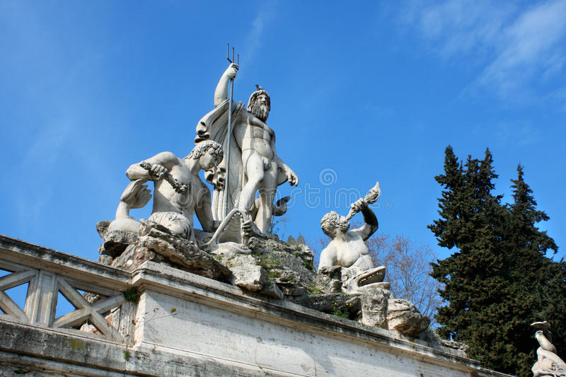 Piazza del Popolo People`s Square named after the church of Sa. Nta Maria del Popolo in Rome, Italy royalty free stock photo