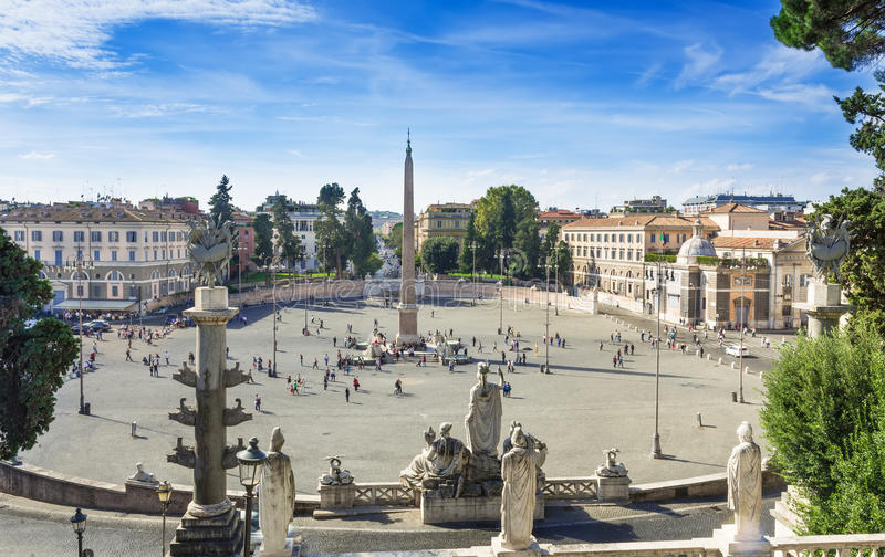 Piazza del Popolo People s Square named after the church of Santa Maria del Popolo in Rome. Italy stock photography