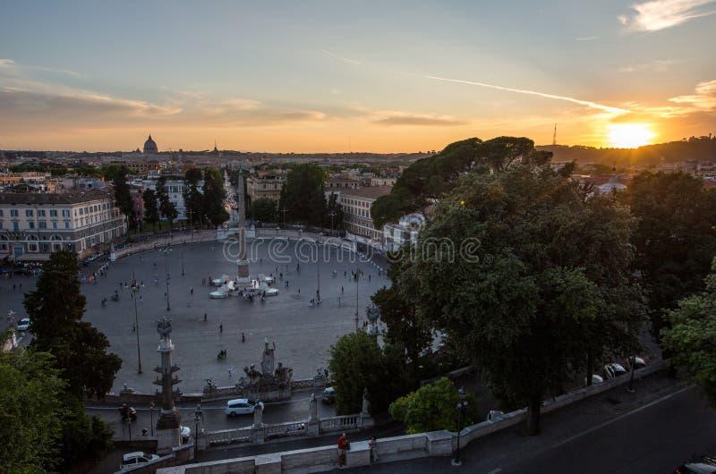 Piazza del Popolo Roma. Sunset over square `Piazza del Popolo` Roma, Rome royalty free stock image