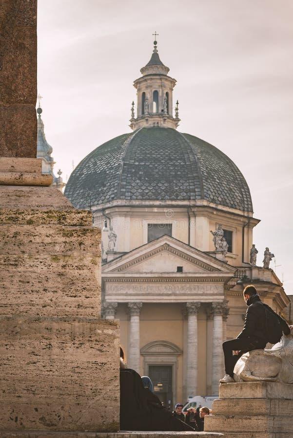Piazza del popolo Rome stock foto's