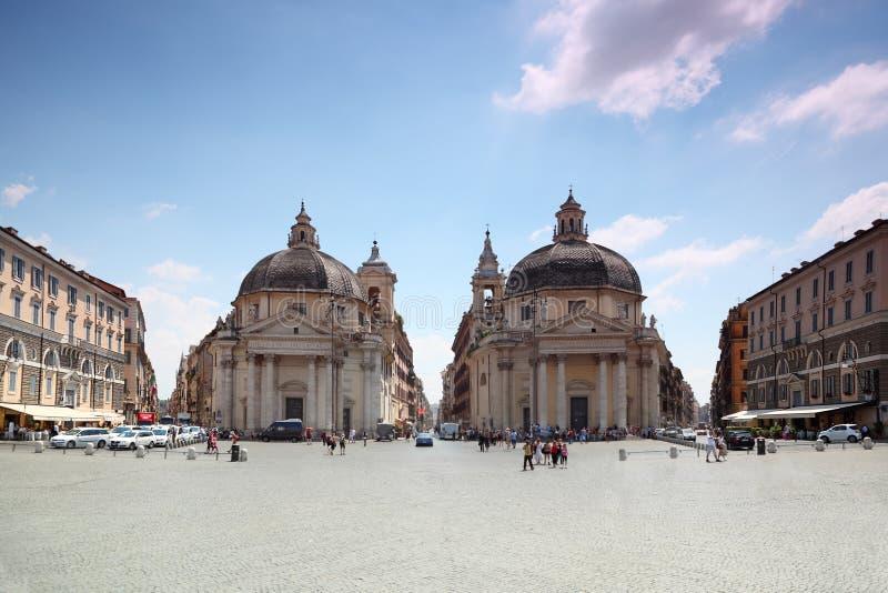Piazza Del Popolo, Santa Maria in Rom stockbilder