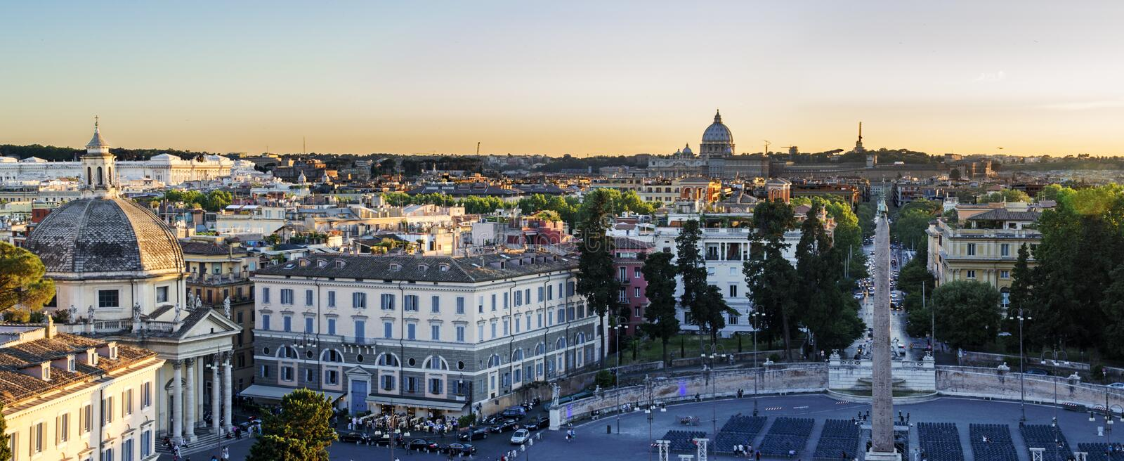 Piazza Del Popolo at sunset stock photos