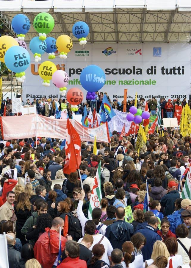 Piazza del popolo tijdens de staking stock foto's