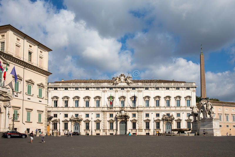 Piazza del Quirinale in Rome, Italy. ROME, ITALY - July 25, 2015: The Piazza del Quirinale sits atop Quirinal Hill, the highest of the Seven Hills of Rome. It royalty free stock photography
