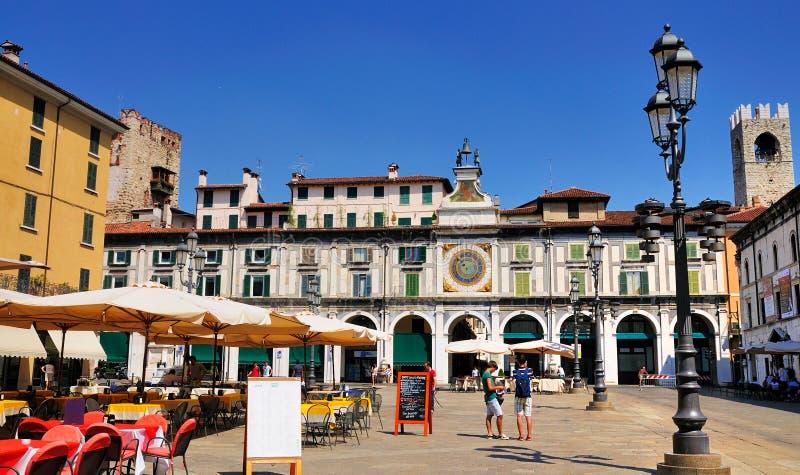Piazza della Loggia, Brescia, Italy. Piazza della Loggia, a famous town square in Brescia, a town in Lombardy, Italy. The square is built in Venetian building royalty free stock photo