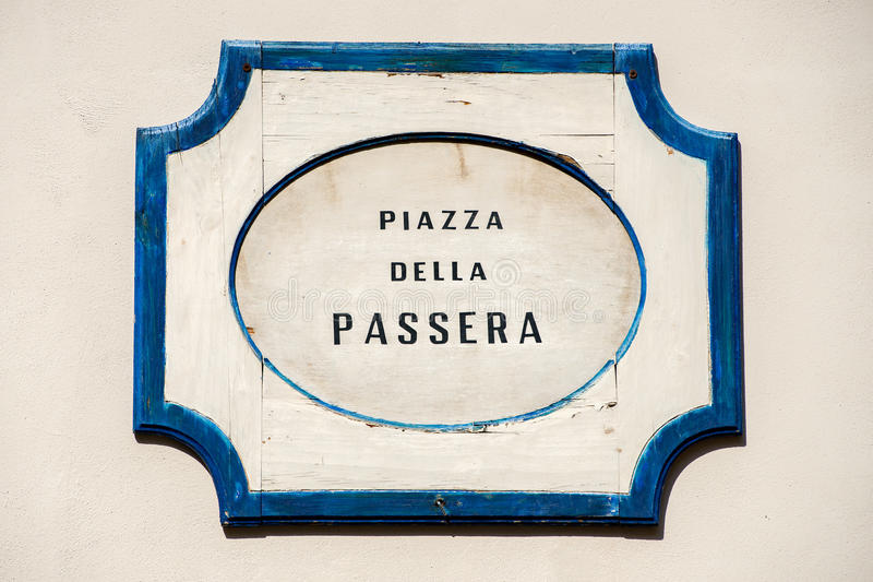 Piazza della passera podpisuje wewnątrz Florence zdjęcia royalty free