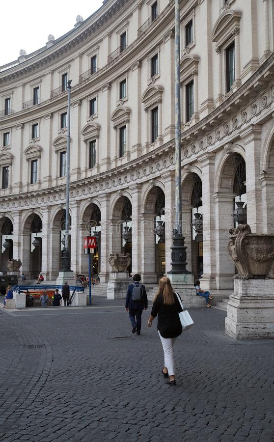 Piazza della Repubblica in Rome, Italy. View of a Piazza della Repubblica in Rome, Italy. The semi-circular piazza is located at the summit of the Viminal Hill royalty free stock images