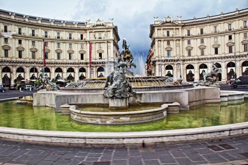Piazza della Repubblica Rzym Włochy zdjęcie stock